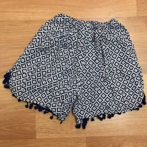 Pants - Boutique style aztec print navy pom pom shorts